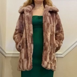 BLUSH PINK FAUX FUR COAT BY FOREVER 21 S 2 4